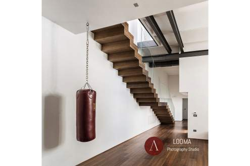 Wooden Staircase in a loft Architectural interior in Rome,