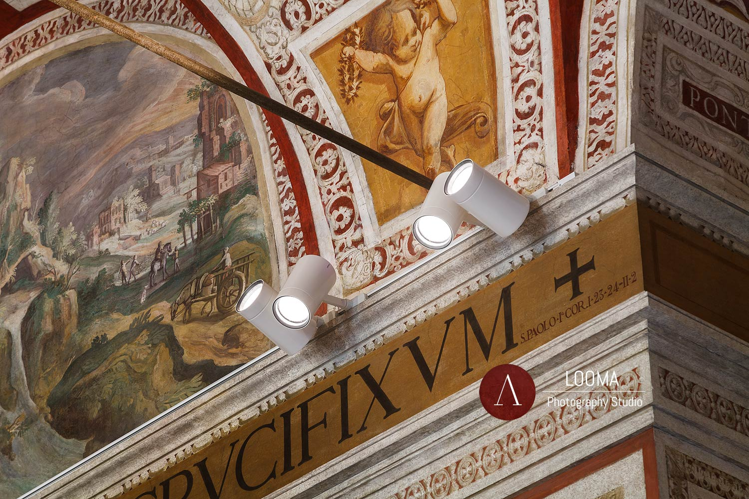 Detail of the LED floodlights fixtures that shed light on the frescoed barrel vault,