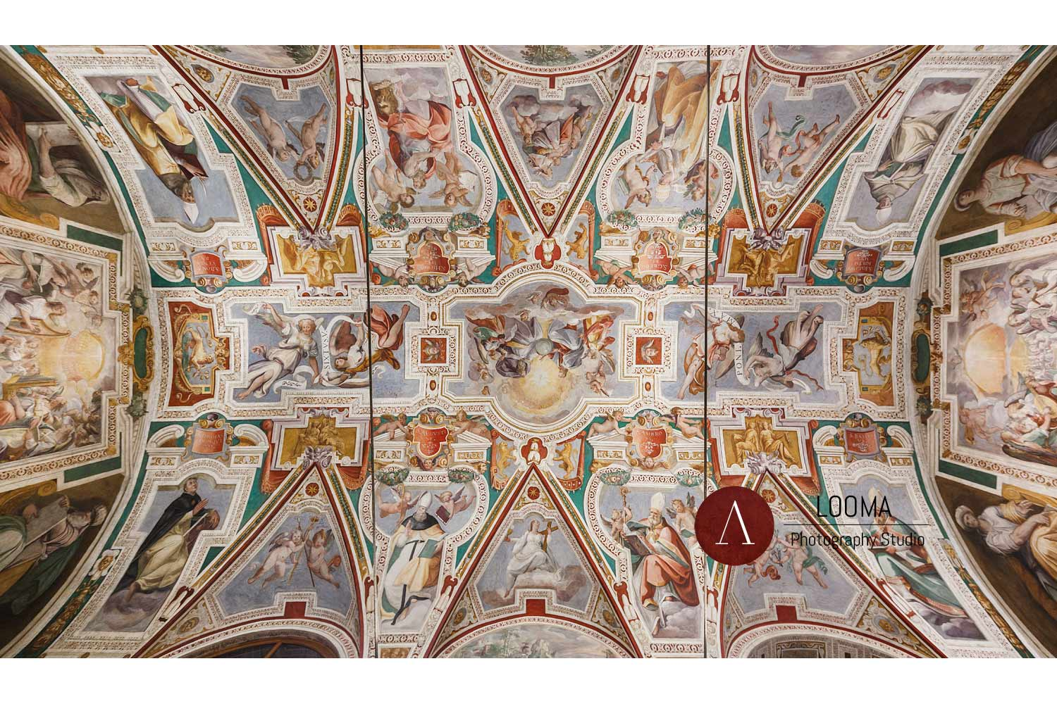The frescoed ceiling vault (17th century) of San Lorenzo in Palatio church