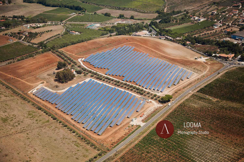 Fotografie aeree per l'industria dei pannelli fotovoltaici in Italia